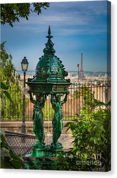 Europa Canvas Print - Montmartre Wallace Fountain by Inge Johnsson