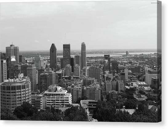 Montreal Cityscape Bw Canvas Print