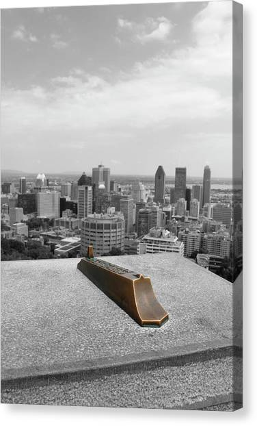 Montreal Cityscape Bw With Color Canvas Print