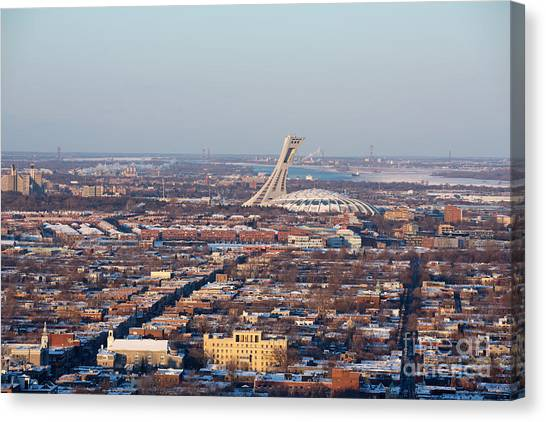 Quebec City Canvas Print - Montreal Cityscape With Olympic Stadium by Jane Rix