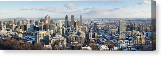 City Sunsets Canvas Print - Montreal In Winter Panorama by Jane Rix