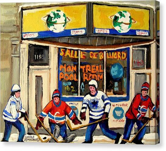 Streethockey Canvas Print - Montreal Poolroom Hockey Fans by Carole Spandau