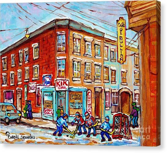 Montreal Storefront Paintings Debullion Street Hockey Art Quebec Winterscenes C Spandau Canadian Art Canvas Print