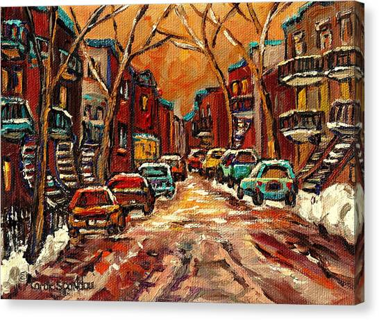 Faces In The Crowd Canvas Print - Montreal Streets In Winter by Carole Spandau