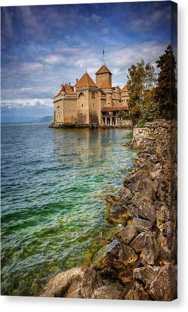 Fortification Canvas Print - Montreux Switzerland Chateau De Chillon  by Carol Japp