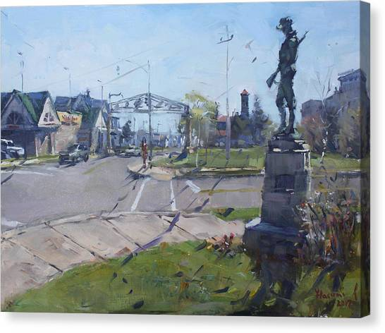 Monument Canvas Print - Monument At Pine Ave And Portage Rd by Ylli Haruni