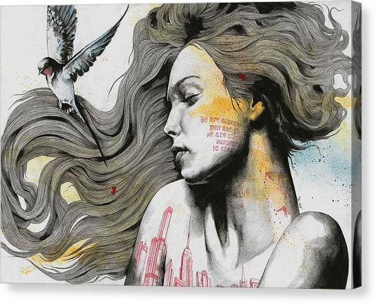 Long Hair Canvas Print - Monument - Long Hair Girl With Bird And Skyline Tattoo by Marco Paludet
