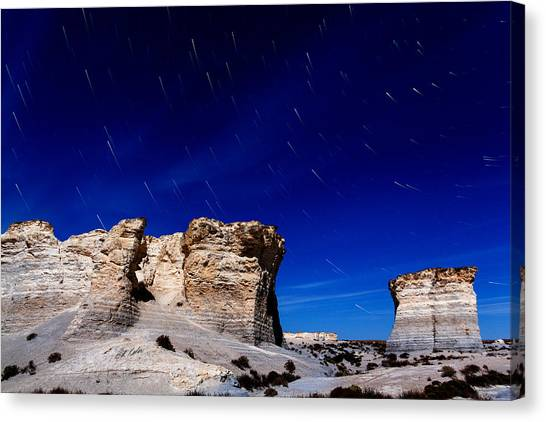 Monument Rocks Moonlight Canvas Print