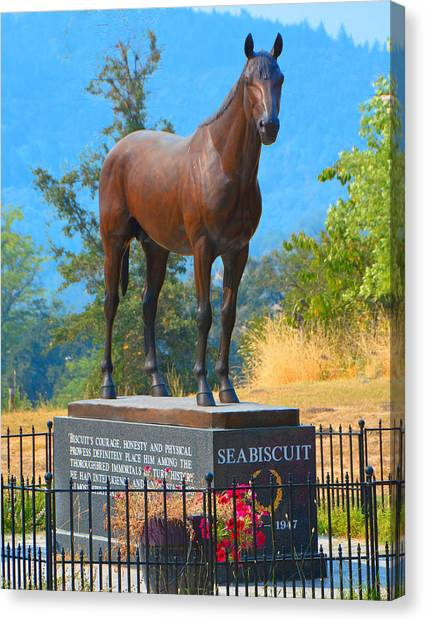 Ridgewood Canvas Print - Monument To Seabiscuit by Josephine Buschman