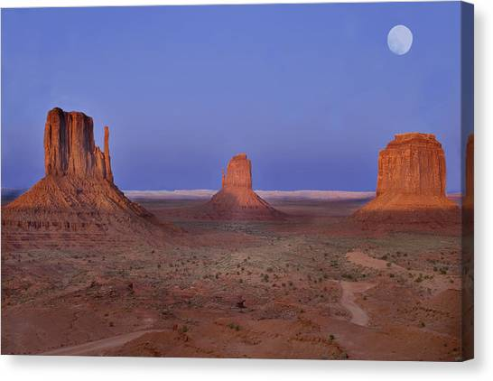 Monument Valley At Dusk Canvas Print by Joel P Black