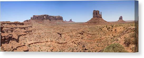 Monument Valley Panoramic Valley View Canvas Print by Melanie Viola