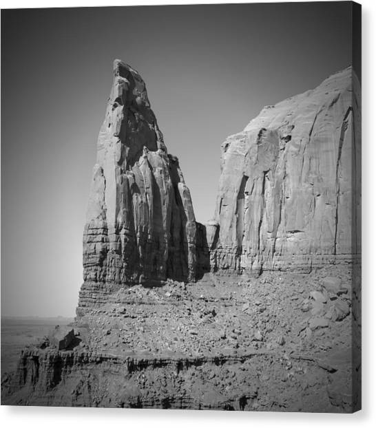 Monument Valley Spearhead Mesa Black And White Canvas Print by Melanie Viola