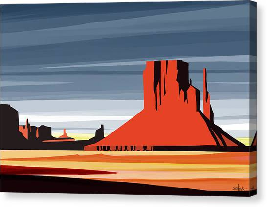 Red Rock Canvas Print - Monument Valley Sunset Digital Realism by Sassan Filsoof
