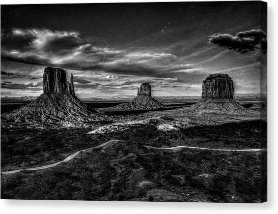 Monument Valley Views Bw Canvas Print
