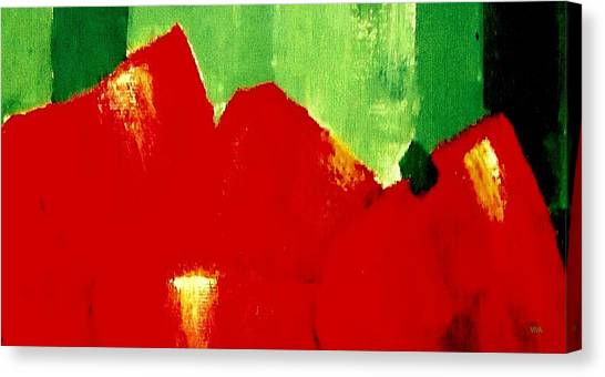 Canvas Print featuring the painting Monumental Capsicum by VIVA Anderson