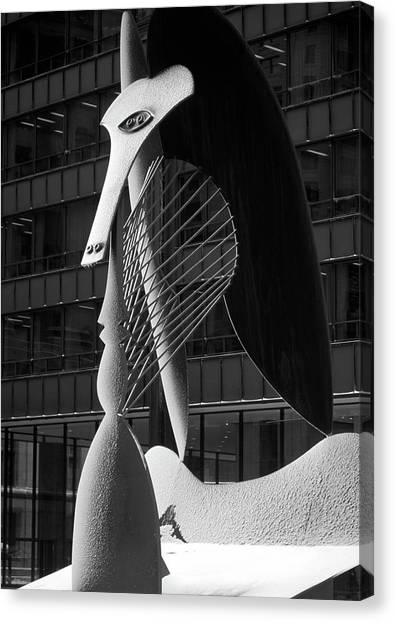 Pablo Picasso Canvas Print - Monumental Sculpture In Front Of A Building, Chicago Picasso, Daley Plaza, Chicago, Illinois, Usa by Panoramic Images