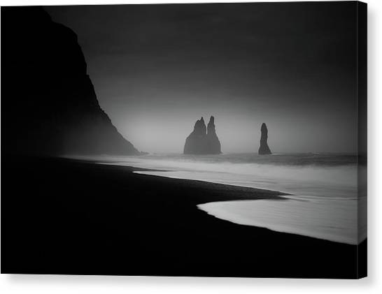 Black Sand Canvas Print - Monuments At Dawn by Peter Svoboda