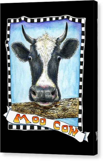 Canvas Print featuring the drawing Moo Cow In Black by Retta Stephenson