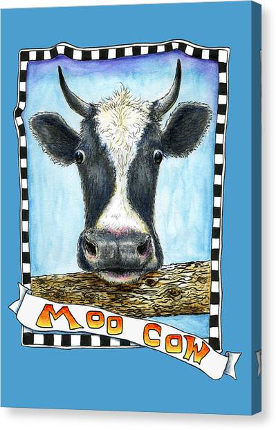 Canvas Print featuring the drawing Moo Cow In Blue by Retta Stephenson