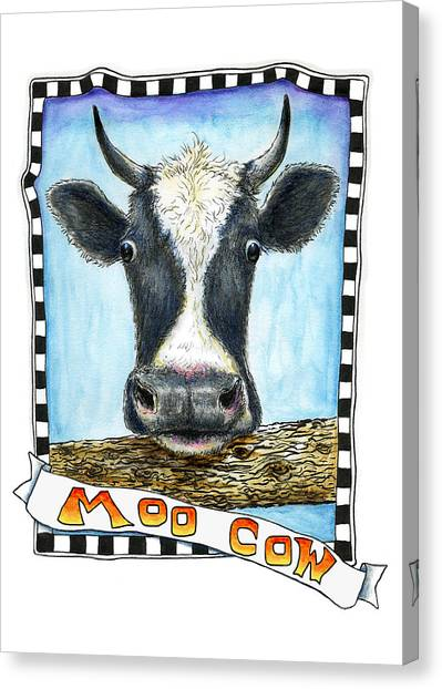Canvas Print featuring the painting Moo Cow by Retta Stephenson
