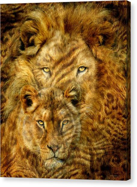 Canvas Print featuring the mixed media Moods Of Africa - Lions 2 by Carol Cavalaris