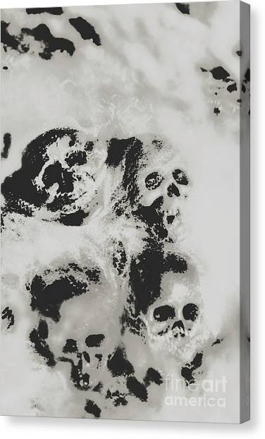 Spider Web Canvas Print - Moody Dramatic Cobwebby Skull Artwork by Jorgo Photography - Wall Art Gallery