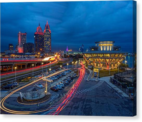 Moody Night In The Port City Canvas Print