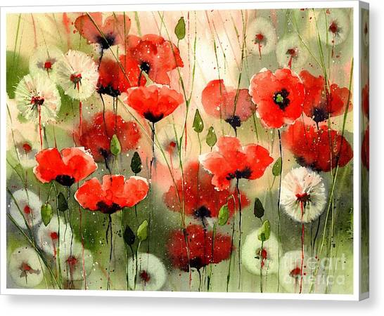 Ears Canvas Print - Moody Poppies In The Afternoon by Suzann's Art