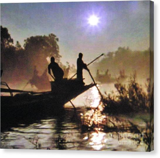 Moody River Silhouettes At Sunset Canvas Print