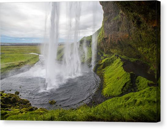 Eyjafjallajokull Canvas Print - Moody Seljalandsfoss by Alex Blondeau