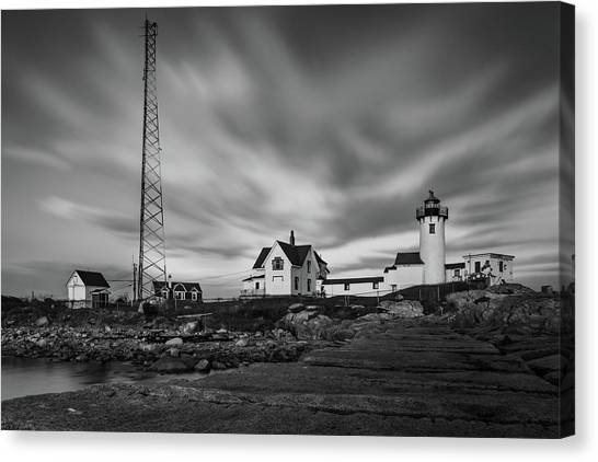 Moody Sky At Eastern Point Lighthouse Canvas Print