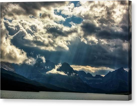 Moody Sunrays Over Glacier National Park Canvas Print