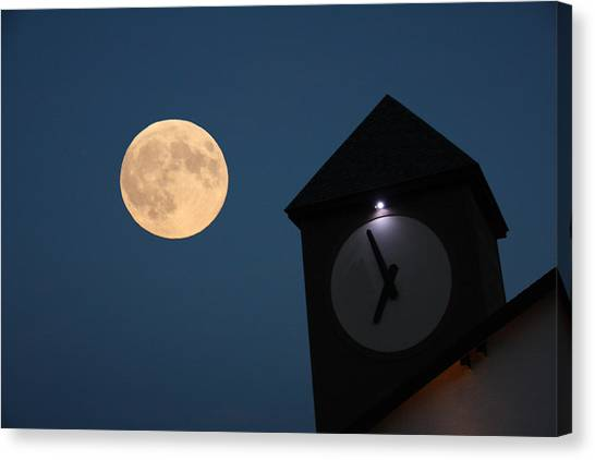 Moon And Clock Tower Canvas Print