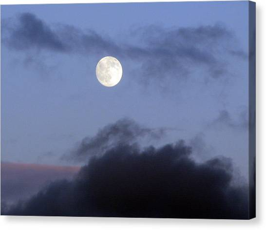 Moon And Clouds Canvas Print by Richard Singleton