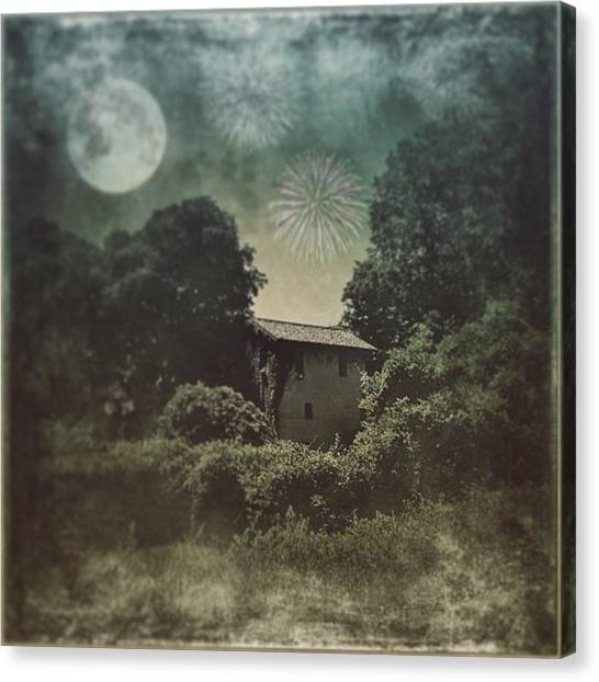 Farmhouse Canvas Print - Moon And Fire Works #iphone #instagram by Roberto Pagani