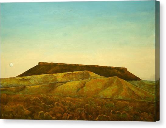 Moon And Mesa Canvas Print