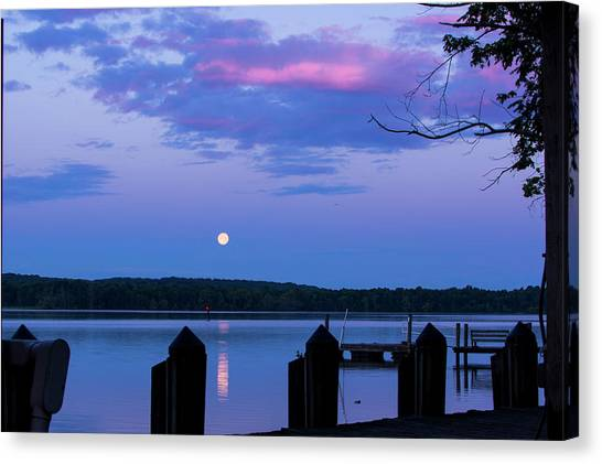 Moon And Pier Canvas Print