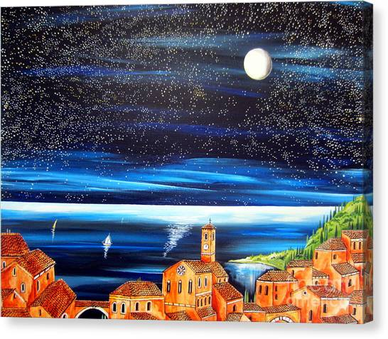 Moon And Stars Over The Village  Canvas Print