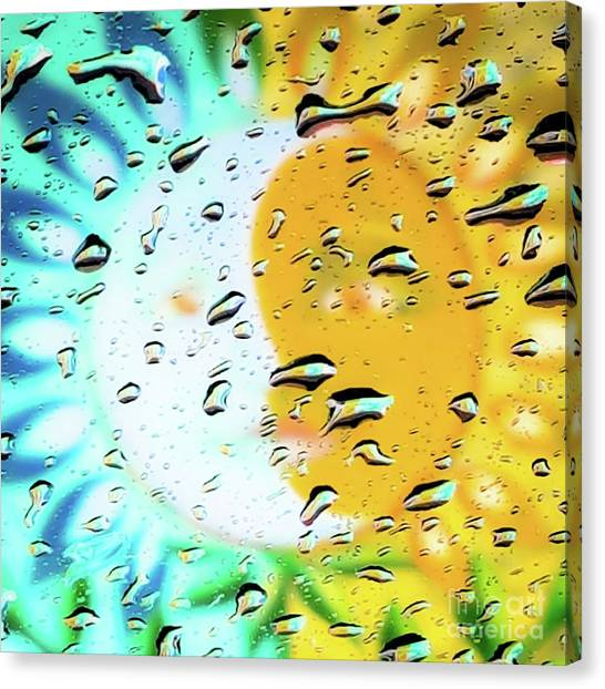 Canvas Print featuring the photograph Moon And Sun Rainy Day Windowpane by D Davila