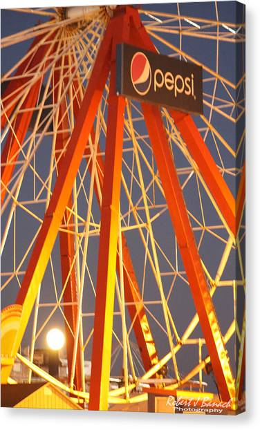 Moon And The Ferris Wheel Canvas Print