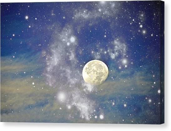 Moon And The Stars Canvas Print