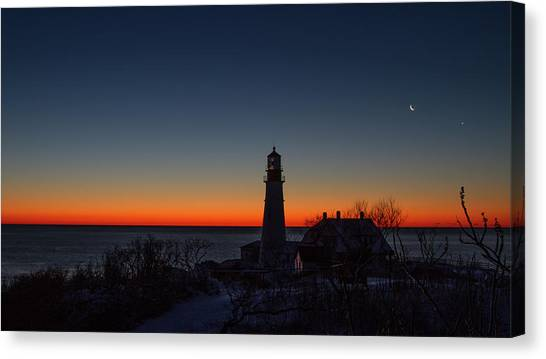 Moon And Venus - Headlight Sunrise Canvas Print
