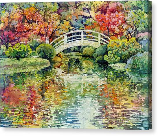 Japanese Gardens Canvas Print - Moon Bridge by Hailey E Herrera