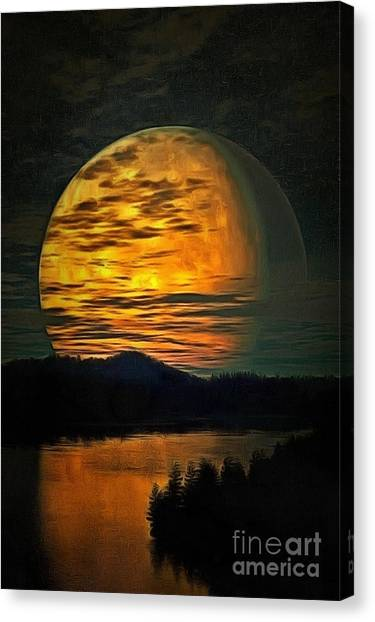 Moon In Ambiance Canvas Print