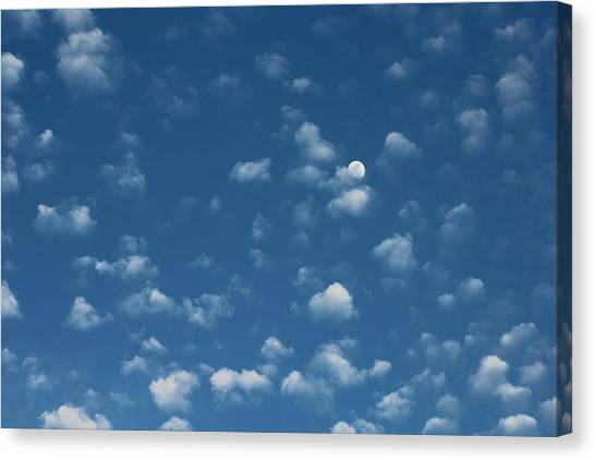 Moon In The Morning Sky Canvas Print