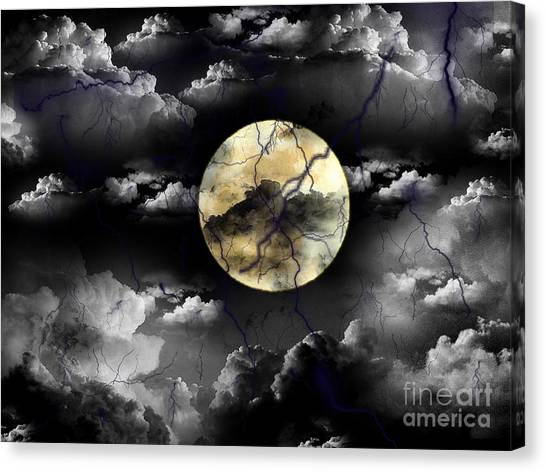 Moon In The Storm Canvas Print