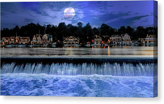 Canvas Print featuring the photograph Moon Light - Boathouse Row Philadelphia by Bill Cannon
