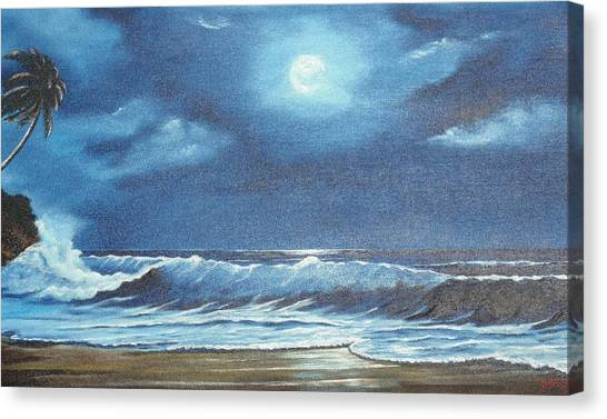Moon Light Night In Paradise Canvas Print