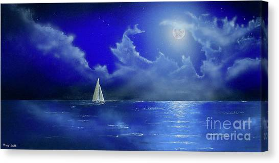Canvas Print featuring the painting Moon Light Sail by Mary Scott