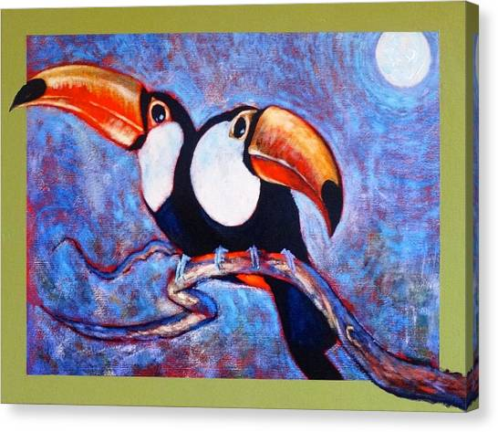Moon Light Toucans Two Canvas Print